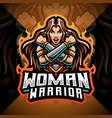women warrior esport mascot logo design vector image vector image