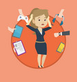 young woman surrounded with her gadgets vector image