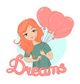 a cute girl with ginger hair holding balloons vector image