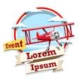 Airplane emblem logo event vector image