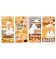 baker confectioner in bakery shop baking bread vector image vector image