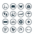 beach icons universal set vector image