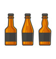 blank glass beer bottle set on white background vector image