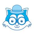 blue icon vintage fox face vector image vector image