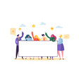 business team holding horizontal empty banner vector image