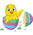 cartoon little chick hatched from an egg vector image vector image