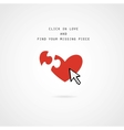 click and find love valentine card vector image