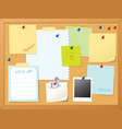 cork board and note papers vector image vector image