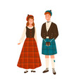 couple in scotland national costumes flat vector image vector image