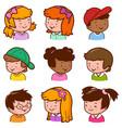diverse children portraits vector image