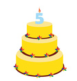 Fifth birthday cake vector image vector image