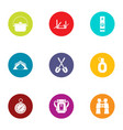 forest traffic icons set flat style vector image vector image