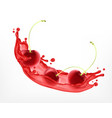 fresh ripe cherry with juice vector image vector image