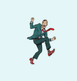 funny man jumped in a ridiculous pose vector image