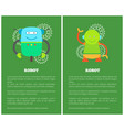funny mechanical robots on promotional posters set vector image