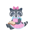 Girl Raccoon With Book vector image vector image