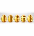 golden eggs realistic set vector image vector image