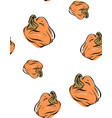 hand drawn seamless pattern with pumpkins vector image