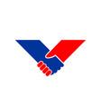 holding hand v shape symbol design vector image