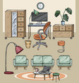 home interior with place for relax and office area vector image