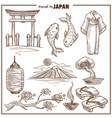japan travel landmark sketch symbols vector image