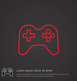 joystick outline symbol red on dark background vector image vector image