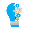 light bulb with gear pieces vector image