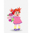 little girl in pink dress with flowers isolated vector image vector image