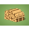 Low poly firewood stacked in piles vector image vector image