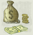 Moneybag and coin vector image vector image