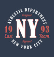 new york sports apparel typography emblem vector image vector image