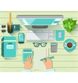 Office Workplace Elements Set View From Above vector image