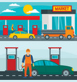 petrol station gas banner concept set flat style vector image