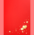 postcard template with hearts luminous beads vector image vector image