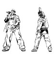raper and graffiti guy on white background vector image vector image