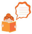 reading girl with message balloon vector image vector image