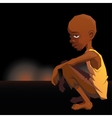 Sad African refugee child boy in a poor dress on vector image vector image