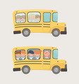 school bus transport with group kids vector image vector image