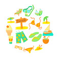sea rest icons set cartoon style vector image