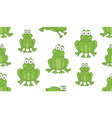 seamless pattern with frogs vector image