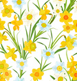 seamless texture with blossom of daffodils vector image vector image