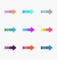 set bright gradient arrows with tail vector image