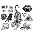 set fashion patches tattoo artwork for girls vector image