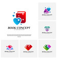 set of love book logo concept heart learning vector image