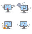 set of monitor character with tongue out chef vector image vector image