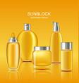 set sunscreen protection cosmetics sun care vector image vector image
