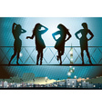 Silhouettes of Girls in Paris vector image