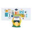student on workplace with laptop and education vector image