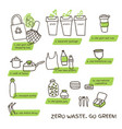 tips for zero waste lifestyle doodle vector image vector image