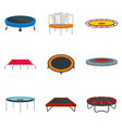 trampoline jumping park joy icons set flat style vector image vector image